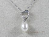 spp029 sterling silver 8-9mm tear-drop freshwater pearl heart shape pendant