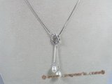 spp037  17inch sterling silver snake chain with 6*8mm ter-drop pearl drop necklace