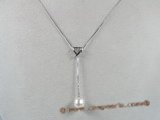 spp039  18inch sterling silver box chain Chain Lariat with 8-9mm tear-drop pearl drop necklace