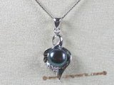 spp046 8-8.5mm black bread pearl pendant with sterling silver mounting