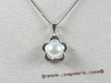 spp049 7.5-8mm white bread pearl pendant with sterling silver mounting