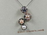 spp059 sterling pendant necklace with multicolor pearl in wholesale