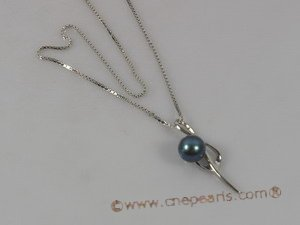 spp067 Sterling silver pendant with 6-7mm black round pearl