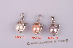 spp073 Sterling silver dolphin Pendant with bread pearl in wholesale