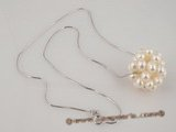 spp075 sterling silver and White Seed Pearl Cluster necklace