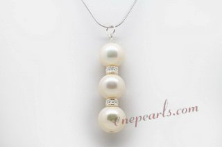 spp082 Sterling silver triple whorl pearl pendant necklace,16inch