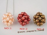 spp085 Wholesale sterling silver Seed Pearl Cluster necklace in special colorized