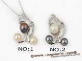 spp097 Wholesale Style Freshwater bread pearl 925silver horn pendant
