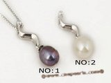 spp101 Fashion sterling silver 7-8mm teardrop pearl S shape pendant