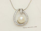 spp141 wholesale 8-9mm round pearl 925silver oval designer pendant