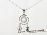 spp147 perfect freshwater round pearl Sterling silver flower pendants inlayed with zircons