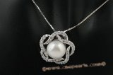 spp180 Sterling silver 10-10.5mm bread pearl flower pendant