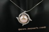 spp181 11-12mm pink bread pearl pendant in sterling silver