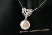 spp189 Sterling silver 12-13mm white coin pearl pendant