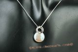 spp195 Sterling silver 13-14mm white coin pearl pendant