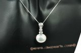 spp197 13-14mm white coin pearl pendant in sterling silver