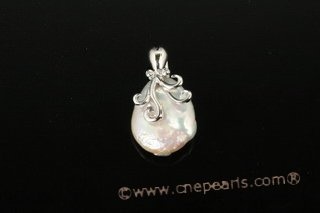 spp207 Sterling Silver 17-18mm Baroque Coin Pearl Pendant Necklace