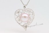 spp218 Sterling Silver 9.5-10mm Bread Pearl Pendant in Heart design