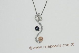 spp220 Specially Designed Mixcolor Bread Pearl 925Silver Pendant