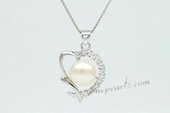 Spp338 Unquie 9.5-10mm Bread pearl 925siver Heart Shape Pendant