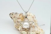 Spp341 Desiger 9.5-10mm Bread pearl Flower design 925siver Pendant