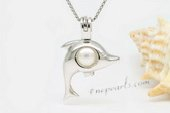 spp347 Lovely Dolphin Design 925Silver Round Pearl Cage Pendant