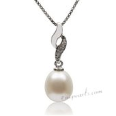 Spp351 Sterling Silver White Drop Pearl and Cubic Zirconia Necklace