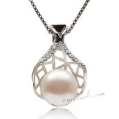 Spp352 Stylish Sterling Silver FW Pearl and Zircon Pendant