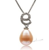Spp356 Simple Sterling Silver 9-10mm Pink Drop Pearl Pendant
