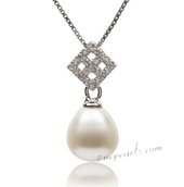 Spp357 Delectable 10-11mm White Drop Pearl Pendant in Sterling Silver