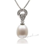 Spp358 Romantic Collection Sterling Silver 9-10mm White Drop Pearl Pendant
