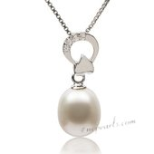 Spp359 Classic Collection 925Silver 9-10mm White Drop Pearl Pendant