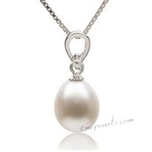 Spp361 Elegant 9-10mm White Drop Pearl 925Silver Pendant