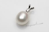 Spp384 Gorgeous 10-11mm Rice Shape Freshwater Pearl 925silver Pendant