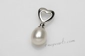 Spp386 9-10mm Pearl Pendant and Heart Design, 925 Sterling Silver
