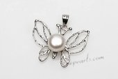 Spp387 6-7mm Freshwater Bread Pearl Pendant Necklace in Butterfly Design