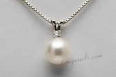 Spp388 Lovely 8-9mm Round Pearl Pendant Necklace with Zircon Bead