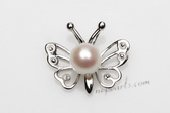 Spp389 Simple 6-7mm White Round Pearl Pendant in Butterfly Shaped Setting