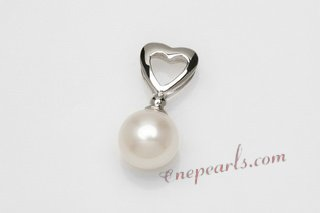 Spp390 Genuine 8-9mm Round Pearl Sterling Silver Pendant with Heart Bail