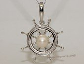 spp396 925 Sterling Silver captain sailing wheel stand freshwater pearl pendant