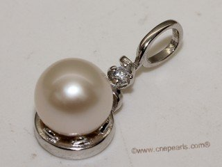 spp397 Simple 6-7mm White Round Pearl Pendant in sterling silver
