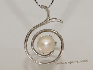 spp398 Spiral design freshwater pearl pendant swirl  with sterling silver whorl tail