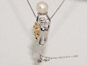 spp399  Unique Freshwater Pearl Mermaid Dangle  Pendant in 925 Sterling Silver