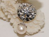 spp403 Seaside treasures sand dollar freshwater pearl pendant sterling silver