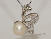 spp405 Sterling silver freshwater pearl sweet butterfly  pendant with zircon beads