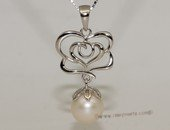spp408  Sterling silver freshwater pearl pendant rose style nature&#39s jewelry