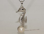 spp409 925 Sterling Silver & Cultured Freshwater Pearl Seahorse Style Hippocampus  Pendant