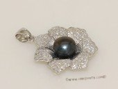 Spp427 Sterling silver sunflower freshwater cultured pearl and CZ pendant