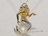 Spp436 Sterling silver Mermaid Pendant with Cultured Freshwater Pearl