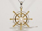 Spp440 925 Sterling Silver Ship Wheel  Sailor Symbol Freshwater Pearl Pendant